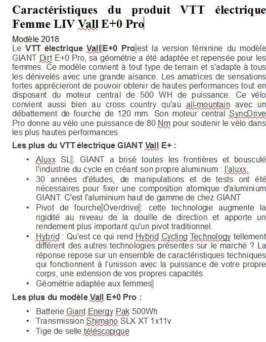 VTT électrique Femme LIV Vall E+0 Pro